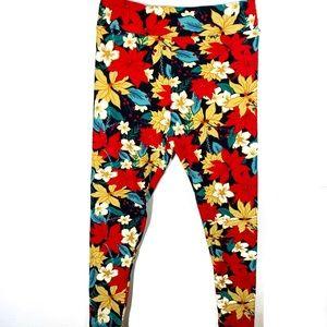 LuLaRoe Poinsettia Leggings Holiday Pants Size TC2